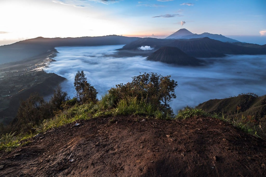 View on the mount bromo landscape at night in Indonesia